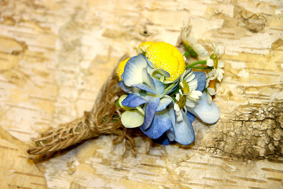 Blue & Yellow Boutonniere