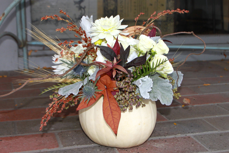 White Pumpkin Floral Arrangement